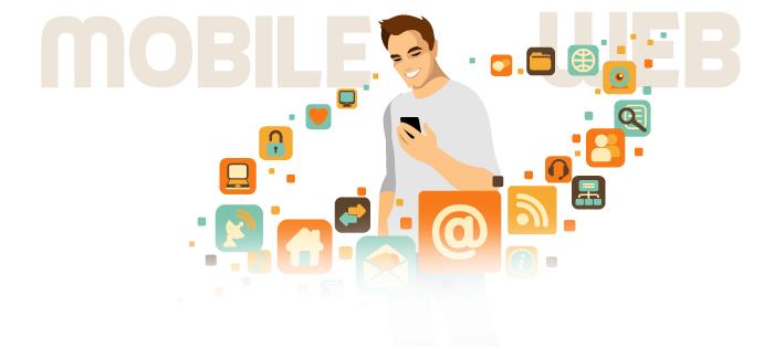 cartoon image of man holding mobile phone